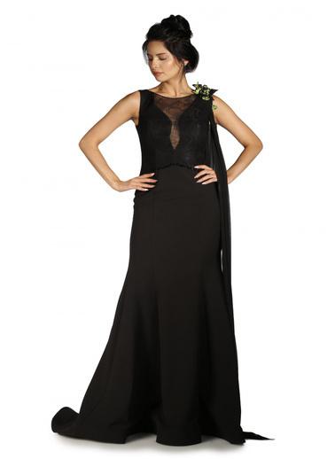 Pierre Cardin Dantelli Çiçekli Balık Abiye Elbise Siyah